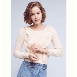 Anthropologie Eri+Ali Cream Callie Ruffle Pullover